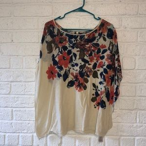 Anthropologie Floral Poncho-style Light Sweater